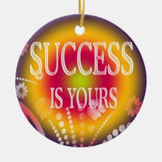 成功はあなたの3単語の引用文です セラミックオーナメント