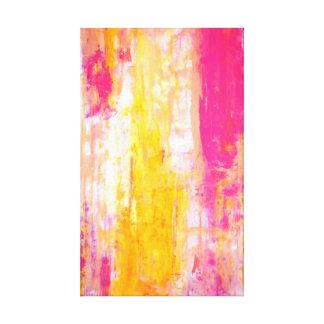 「成長のより高い」ピンクおよび黄色い抽象美術 キャンバスプリント