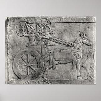 戦いのアッシリアの軍隊を描写するレリーフ、浮き彫り プリント