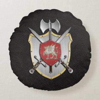 戦いの頂上のドラゴンの黒 ラウンドクッション