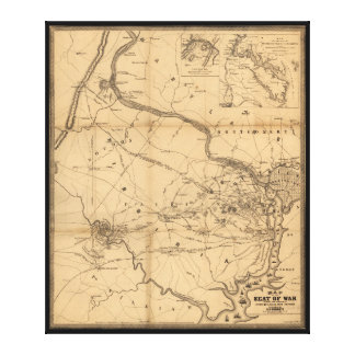 戦い21 7月18日、21日及び10月1861年の内戦の地図 キャンバスプリント
