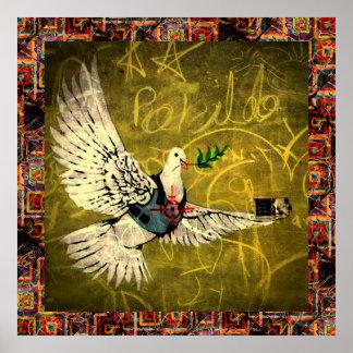 戦争および平和ポスター-弾丸の証拠のベストを持つ鳩 ポスター