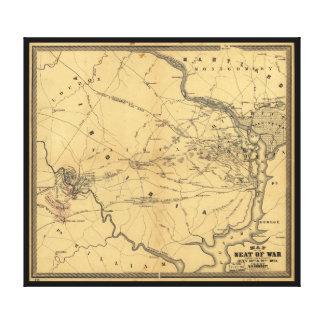 戦争の北のヴァージニアの内戦の地図の座席 キャンバスプリント
