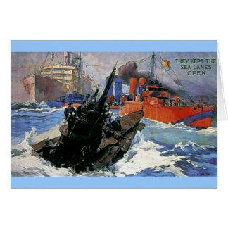 戦争の海の船の潜水艦ポスター カード