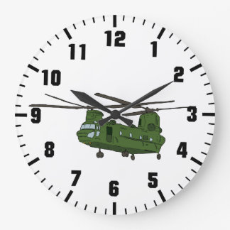 戦争の軍隊のヘリコプター ラージ壁時計