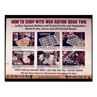 戦争の配給手帳2と買物をする方法 ポストカード