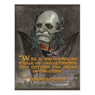 戦争及び政府のトマス・ペインの引用文 ポストカード