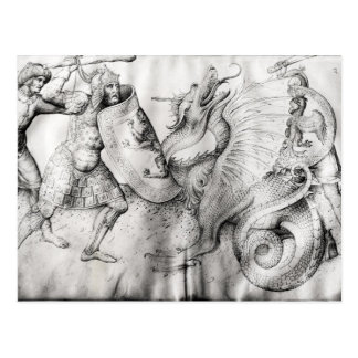 戦士とドラゴン、c.1450の間で戦って下さい ポストカード