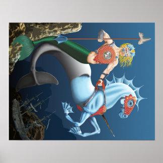 戦士のマーマンのファンタジーの芸術のイラストレーションポスター ポスター