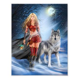 戦士の女性およびオオカミの写真のプリント フォトプリント