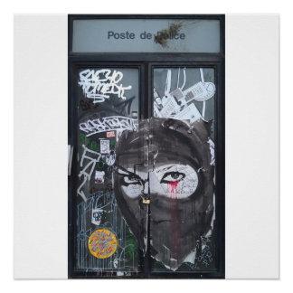 戦士の女性の落書きの通りの芸術ポスター ポスター