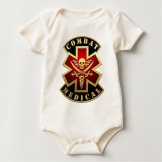 戦闘の医学のスカル及び剣の十字パッチ ベビーボディスーツ