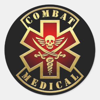 戦闘の医学のスカル及び剣の十字パッチ ラウンドシール