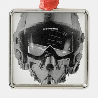 戦闘機のパイロットのヘルメットおよび高度計 メタルオーナメント