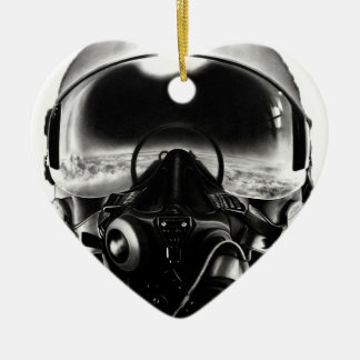 戦闘機のパイロットのヘルメット セラミックオーナメント