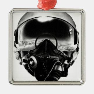 戦闘機のパイロットのヘルメット メタルオーナメント
