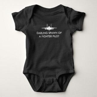 戦闘機のパイロットの卵F-15Eのおもしろいな赤ん坊-白 ベビーボディスーツ