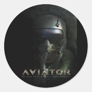 戦闘機のパイロットのHudのヘルメット 丸形シールステッカー