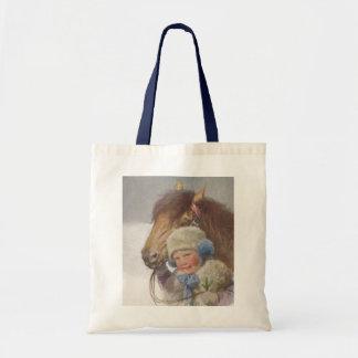 戦闘状況表示板の御馳走ヴィンテージの子供ペット子馬の菓子のギフトバッグ トートバッグ