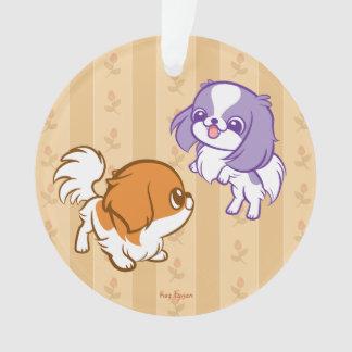 戯れるかわいいの子犬の日本語Chin オーナメント