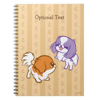 戯れるかわいいの子犬の日本語Chin ノートブック