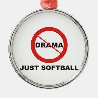 戯曲ちょうどソフトボール無し シルバーカラー丸型オーナメント