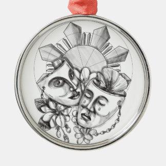 戯曲マスクのハイビスカスのSampaguitaの花フィリピンS メタルオーナメント