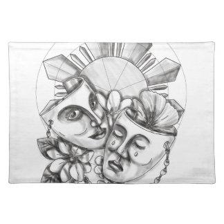 戯曲マスクのハイビスカスのSampaguitaの花フィリピンS ランチョンマット