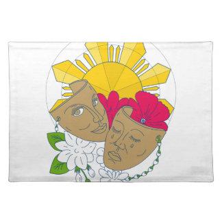 戯曲マスクのフィリピンの日曜日のハイビスカスのSampaguitaの流れ ランチョンマット
