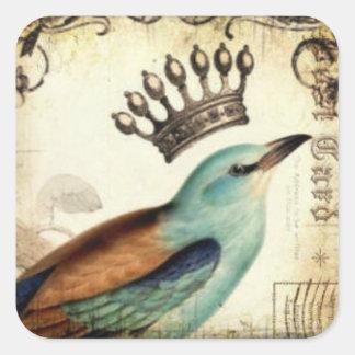 戴冠させた鳥のステッカーシート スクエアシール