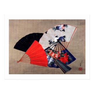 扇子、北斎5ファン、Hokusaiの浮世絵 ポストカード