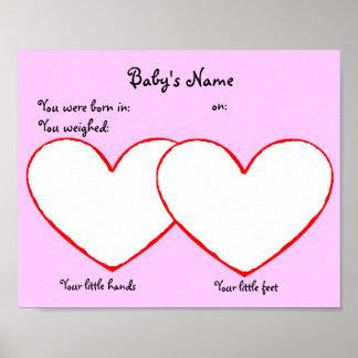 手および足のプリントの新生児ポスターピンク ポスター
