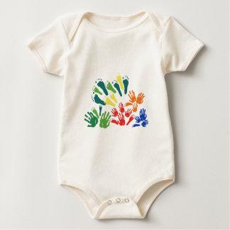 手および足の花柄 ベビーボディスーツ