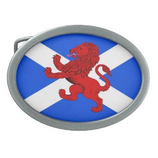 手がつけられないライオン/スコットランドの旗 卵形バックル