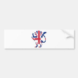 手がつけられない英国国旗のライオン バンパーステッカー