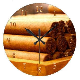 手によってシガーのLaのRomanaの転がられる先生金ゴールド数 ラージ壁時計