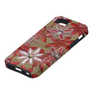手によって切り分けられるキルトにされた赤く、ピンクの花 iPhone SE/5/5s ケース