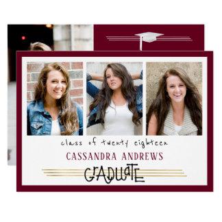 手によって文字を入れられる卒業生 の編集可能あずき色 の4写真 カード