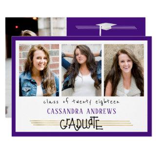 手によって文字を入れられる卒業生 の編集可能紫色 の4写真 カード