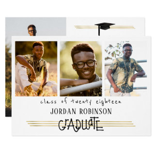 手によって文字を入れられる卒業生 の金ゴールドの行 の4写真 カード