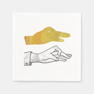 手のシルエットのアヒルの黄色 スタンダードカクテルナプキン