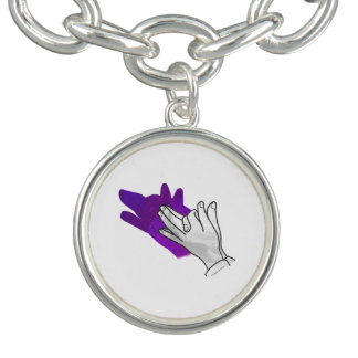 手のシルエットのオオカミの紫色 チャームブレス