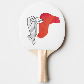 手のシルエットのラクダの赤 卓球ラケット