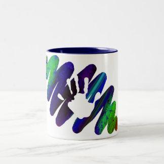 手のプリント ツートーンマグカップ
