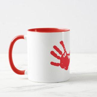 手のプリント マグカップ