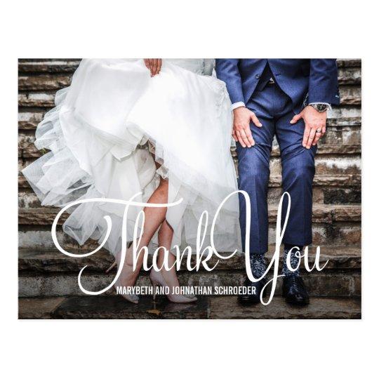 手のレタリングの写真の結婚式は郵便はがき感謝していしています ポストカード