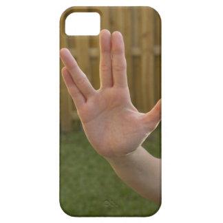 手の印を作る女性の手のクローズアップ iPhone SE/5/5s ケース