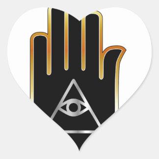 手の宗教記号のプロヴィデンスの目 ハートシール