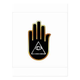 手の宗教記号のプロヴィデンスの目 ポストカード