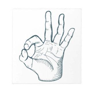 手の引くことのスケッチのヴィンテージのokay手の印 ノートパッド